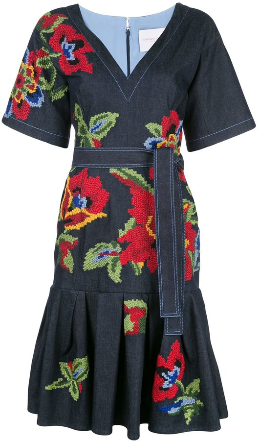 Carolina Herrera Floral-Embroidered Dress
