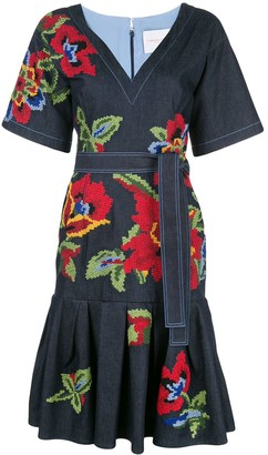 Carolina Herrera Floral-Embroidered Dress