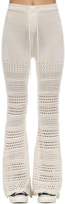 Amiri Flared Intarsia Knit Crochet Pants