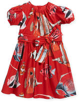 Dolce & Gabbana Tropical Fish-Print Puffy-Sleeve Dress, Size 2-6
