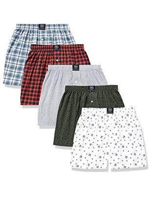 Badger Smith Men's 5 - Pack 100% Cotton Print and Plaid color Boxer Shorts Extra Extra Large