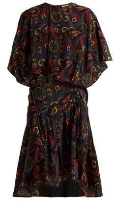 J.W.Anderson Paisley-print Handkerchief-hem Silk Dress - Womens - Black Multi