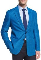 Armani Collezioni Houndstooth Linen-Wool Two-Button Sport Coat, Turquoise
