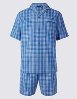 M&S Collection Pure Cotton Checked Pyjamas