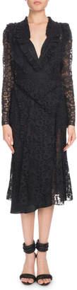 Altuzarra Valencienne V-Neck Long-Sleeve Midi Dress
