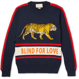 Gucci Appliquéd Embroidered Wool Sweater