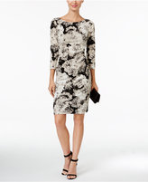 Jessica Howard Petite Ruched Metallic Floral-Print Sheath Dress