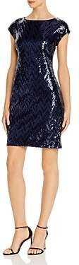 Eliza J Zigzag-Sequined Cocktail Dress