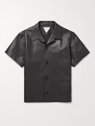 Bottega Veneta Convertible-Collar Leather Shirt - Men - Brown
