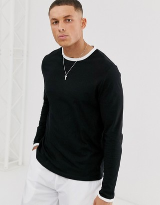 Asos DESIGN long sleeve t-shirt with crew neck with contrast ringer in black