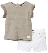 7 For All Mankind Summer Sweater & Short Set (Baby Girls)