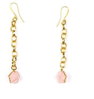 Tiana Jewel Rose Quartz Capsule Chain Earrings Gold