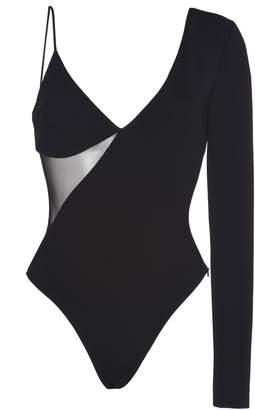 David Koma Asymmetrical One-Shoulder Stretch-Crepe Bodysuit