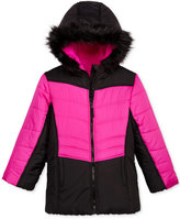 S. Rothschild Hooded Colorblocked Puffer Jacket with Faux-Fur Trim, Toddler Girls (2T-4T)