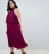 Asos DESIGN Curve halter tie neck midi dress in pleat