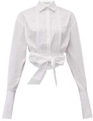 Racil Drew Pintuck Cropped Cotton Shirt - Womens - White