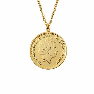 Sparkling Jewellery Women Gold Pendant Necklace of Length 46cm Grand One Coin - Gold