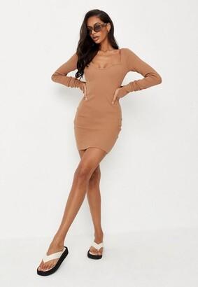 Missguided Camel Rib Long Sleeve Mini Dress
