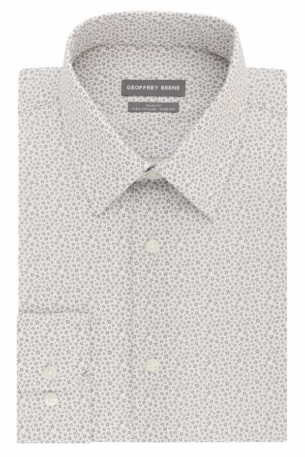 Geoffrey Beene Mens Dress Shirt Stretch Collar Reg Fit