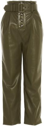 Self-Portrait Belted Straight-Leg Pants