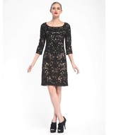 Sue Wong Embroidered Bateau Neck Column Dress N5344