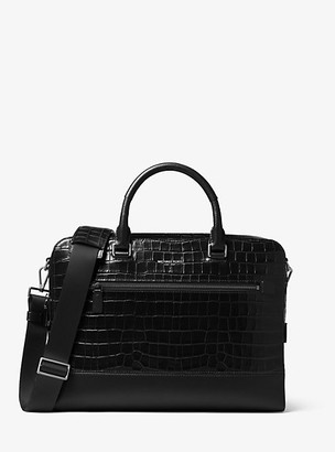 Michael Kors Harrison Crocodile-Embossed Leather Briefcase - Black