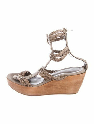 Gianvito Rossi Suede Studded Accents Sandals Grey