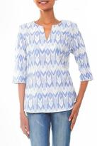 Hand Dyed Blue and White Ikat Tunic from Bali, 'Miki Ikat'