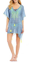Gianni Bini Solid Embroidered Lace-Up Kaftan Cover-Up