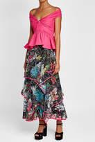 Peter Pilotto Printed Silk Midi Skirt