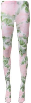 Richard Quinn Pink Rose floral-print tights