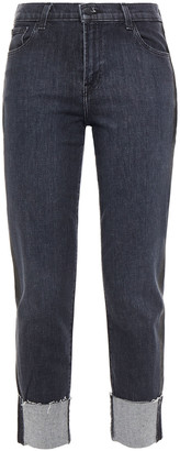 J Brand Cropped Frayed Mid-rise Straight-leg Jeans