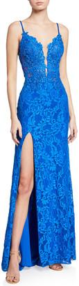 La Femme Floral Lace Column Gown w/ Thigh Slit