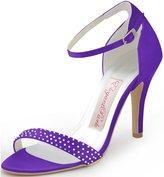 ElegantPark HP1408 Women Satin Ankle Strap Open Toe Pumps Rhinestones High Heel Sandals Wedding Bridal Shoes US 10