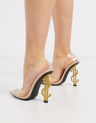 Public Desire Dolla Bills clear heeled shoe in beige patent