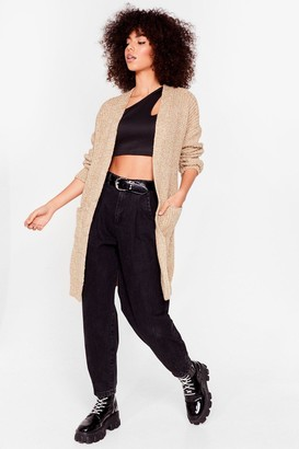 Nasty Gal Womens Knit Ain't Over Longline Cardigan - Camel