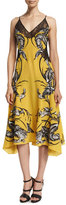 Roberto Cavalli Sleeveless Feather-Print Dress W/Lace, Yellow