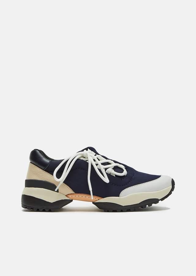 Y's Neoprene Leather Sneakers Navy