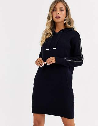 Morgan hooded knitted jumper dress with stud detail in navy