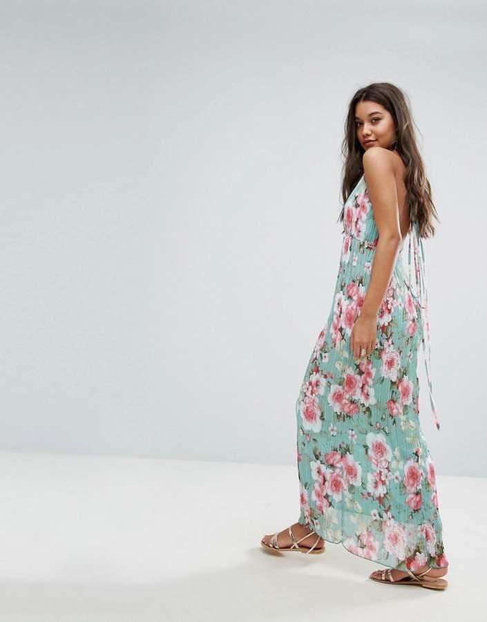Missguided Plisse Plunge Floral Maxi Dress
