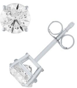 Macy's Certified Diamond (1 ct. t.w.) Stud Earrings in 14k White Gold