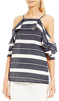 Antonio Melani Tiffany Striped Voile Cold Shoulder Blouse