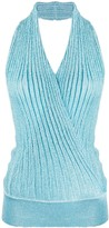 Missoni wrap front ribbed knit top