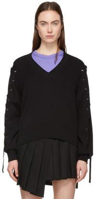 McQ Black Eyelet Batwing Sweater