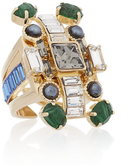 Emilio Pucci Gold-plated crystal ring