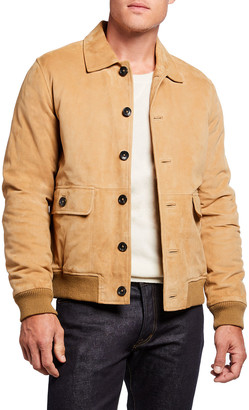 Scotch & Soda Men's Chic Sheep Suede Bomber Jacket