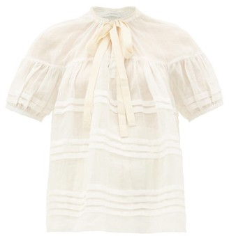 Lee Mathews - Gigi Pleated Puff-sleeve Ramie Blouse - Womens - Ivory