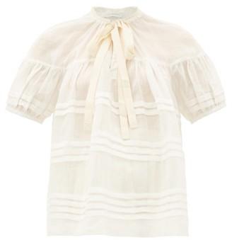 Lee Mathews Gigi Pleated Puff-sleeve Ramie Blouse - Womens - Ivory