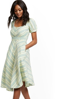 New York & Co. Stripe Fit and Flare Linen Blend Dress