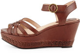 Frye Carlie 2 Piece Woven Leather Wedge Sandal, Dark Brown
